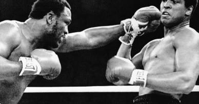 Joe Frazier Throwing Punch at Muhammad Ali