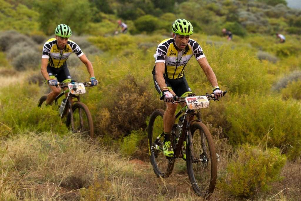 ROBERTSON 24 MARCH 2014 - Jose Hermida & Rudi Van Houts during stage 1 of the 2014 Absa Cape Epic Mountain Bike stage race held from Arabella Wines in Robertson, South Africa on the 24 March 2014  Photo by Gary Perkin/Cape Epic/SPORTZPICS