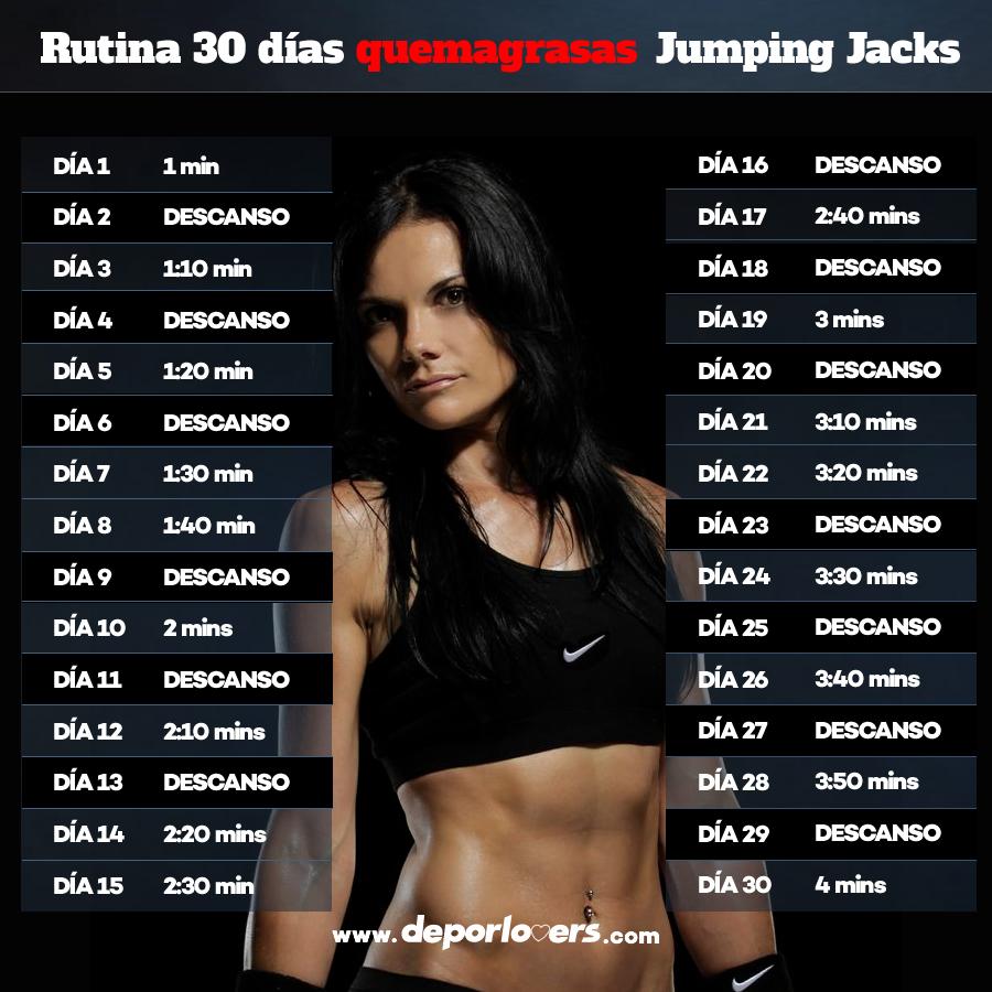 Rutina 30 dias quemagrasas Jumping Jacks