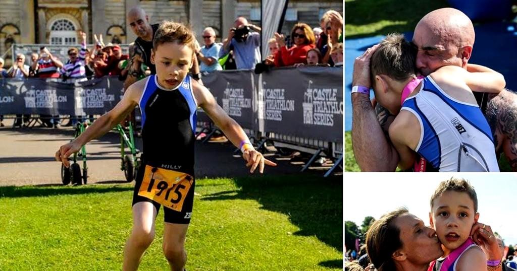 El niño de 8 años que completo un triatlon paralisis cerebral