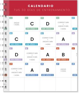 Calendario de entrenamiento de 30 días
